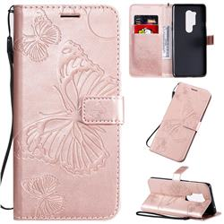 Embossing 3D Butterfly Leather Wallet Case for OnePlus 8 Pro - Rose Gold