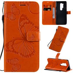 Embossing 3D Butterfly Leather Wallet Case for OnePlus 8 Pro - Orange
