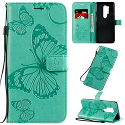 Embossing 3D Butterfly Leather Wallet Case for OnePlus 8 Pro - Green
