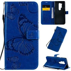 Embossing 3D Butterfly Leather Wallet Case for OnePlus 8 Pro - Blue