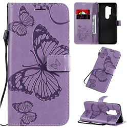 Embossing 3D Butterfly Leather Wallet Case for OnePlus 8 Pro - Purple