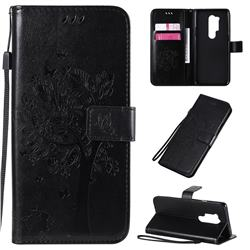 Embossing Butterfly Tree Leather Wallet Case for OnePlus 8 Pro - Black