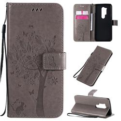 Embossing Butterfly Tree Leather Wallet Case for OnePlus 8 Pro - Grey