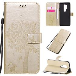 Embossing Butterfly Tree Leather Wallet Case for OnePlus 8 Pro - Champagne