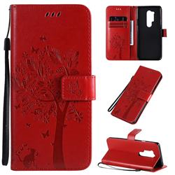 Embossing Butterfly Tree Leather Wallet Case for OnePlus 8 Pro - Red