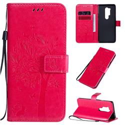 Embossing Butterfly Tree Leather Wallet Case for OnePlus 8 Pro - Rose