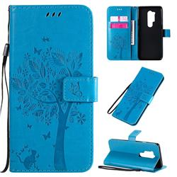 Embossing Butterfly Tree Leather Wallet Case for OnePlus 8 Pro - Blue