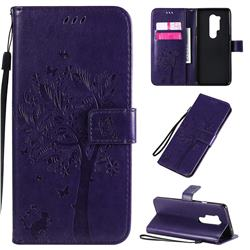 Embossing Butterfly Tree Leather Wallet Case for OnePlus 8 Pro - Purple