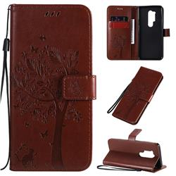 Embossing Butterfly Tree Leather Wallet Case for OnePlus 8 Pro - Coffee