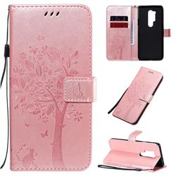 Embossing Butterfly Tree Leather Wallet Case for OnePlus 8 Pro - Rose Pink