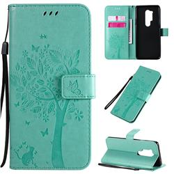 Embossing Butterfly Tree Leather Wallet Case for OnePlus 8 Pro - Cyan