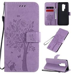 Embossing Butterfly Tree Leather Wallet Case for OnePlus 8 Pro - Violet
