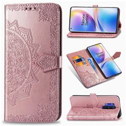 Embossing Imprint Mandala Flower Leather Wallet Case for OnePlus 8 Pro - Rose Gold