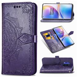 Embossing Imprint Mandala Flower Leather Wallet Case for OnePlus 8 Pro - Purple