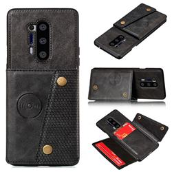 Retro Multifunction Card Slots Stand Leather Coated Phone Back Cover for OnePlus 8 Pro - Black