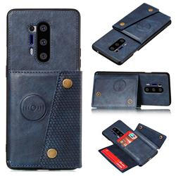 Retro Multifunction Card Slots Stand Leather Coated Phone Back Cover for OnePlus 8 Pro - Blue
