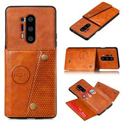 Retro Multifunction Card Slots Stand Leather Coated Phone Back Cover for OnePlus 8 Pro - Brown