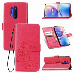 Embossing Imprint Four-Leaf Clover Leather Wallet Case for OnePlus 8 Pro - Rose Red