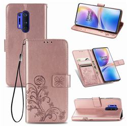 Embossing Imprint Four-Leaf Clover Leather Wallet Case for OnePlus 8 Pro - Rose Gold