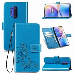 Embossing Imprint Four-Leaf Clover Leather Wallet Case for OnePlus 8 Pro - Blue