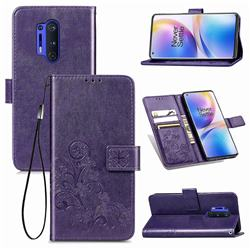 Embossing Imprint Four-Leaf Clover Leather Wallet Case for OnePlus 8 Pro - Purple