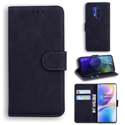 Retro Classic Skin Feel Leather Wallet Phone Case for OnePlus 8 Pro - Black