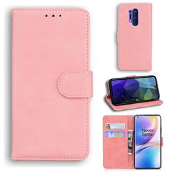 Retro Classic Skin Feel Leather Wallet Phone Case for OnePlus 8 Pro - Pink