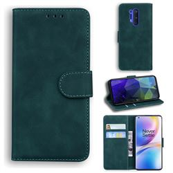 Retro Classic Skin Feel Leather Wallet Phone Case for OnePlus 8 Pro - Green