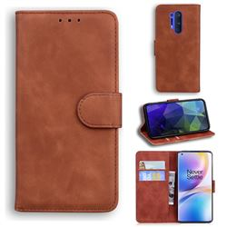 Retro Classic Skin Feel Leather Wallet Phone Case for OnePlus 8 Pro - Brown
