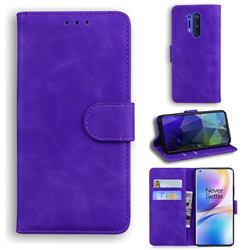 Retro Classic Skin Feel Leather Wallet Phone Case for OnePlus 8 Pro - Purple