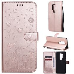 Embossing Bee and Cat Leather Wallet Case for OnePlus 8 Pro - Rose Gold