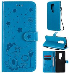 Embossing Bee and Cat Leather Wallet Case for OnePlus 8 Pro - Blue