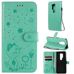 Embossing Bee and Cat Leather Wallet Case for OnePlus 8 Pro - Green