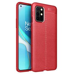 Luxury Auto Focus Litchi Texture Silicone TPU Back Cover for OnePlus 8T - Red