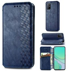 Ultra Slim Fashion Business Card Magnetic Automatic Suction Leather Flip Cover for OnePlus 8T - Dark Blue