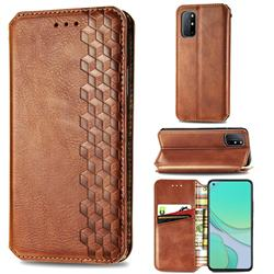 Ultra Slim Fashion Business Card Magnetic Automatic Suction Leather Flip Cover for OnePlus 8T - Brown