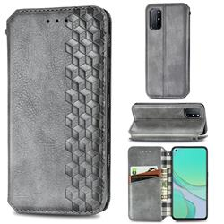 Ultra Slim Fashion Business Card Magnetic Automatic Suction Leather Flip Cover for OnePlus 8T - Grey