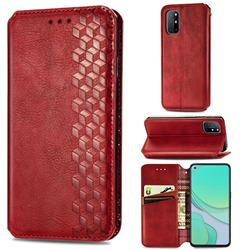 Ultra Slim Fashion Business Card Magnetic Automatic Suction Leather Flip Cover for OnePlus 8T - Red