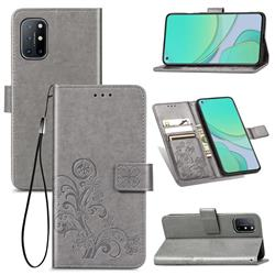 Embossing Imprint Four-Leaf Clover Leather Wallet Case for OnePlus 8T - Grey
