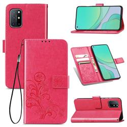 Embossing Imprint Four-Leaf Clover Leather Wallet Case for OnePlus 8T - Rose Red