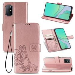 Embossing Imprint Four-Leaf Clover Leather Wallet Case for OnePlus 8T - Rose Gold
