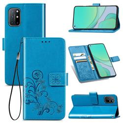 Embossing Imprint Four-Leaf Clover Leather Wallet Case for OnePlus 8T - Blue