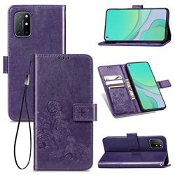 Embossing Imprint Four-Leaf Clover Leather Wallet Case for OnePlus 8T - Purple