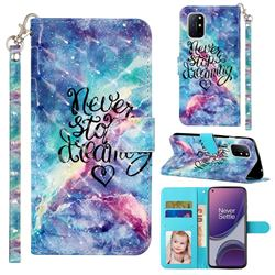 Blue Starry Sky 3D Leather Phone Holster Wallet Case for OnePlus 8T