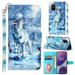 Snow Wolf 3D Leather Phone Holster Wallet Case for OnePlus 8T