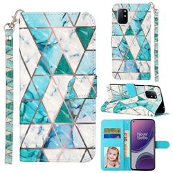 Stitching Marble 3D Leather Phone Holster Wallet Case for OnePlus 8T