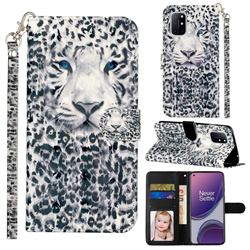 White Leopard 3D Leather Phone Holster Wallet Case for OnePlus 8T