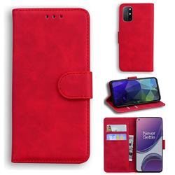 Retro Classic Skin Feel Leather Wallet Phone Case for OnePlus 8T - Red