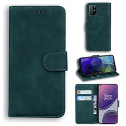 Retro Classic Skin Feel Leather Wallet Phone Case for OnePlus 8T - Green