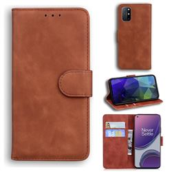Retro Classic Skin Feel Leather Wallet Phone Case for OnePlus 8T - Brown